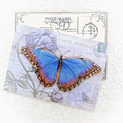 Holz Postkarte Vintage Grußkarte Nostalgie Shabby Deko Bild Schmetterling Rosen