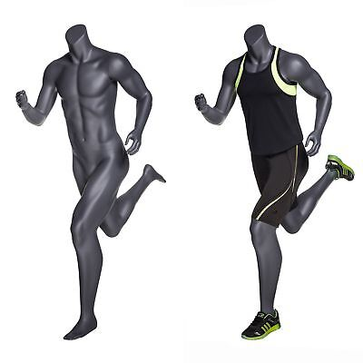 Male Full Body Headless Jogging Athletic Mannequin W Base - Matte Grey