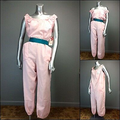 NOS vtg 80s Iconic BLAKE AMERICAN Pink Jumpsuit Romper CHARMCRINKLE newwave Punk
