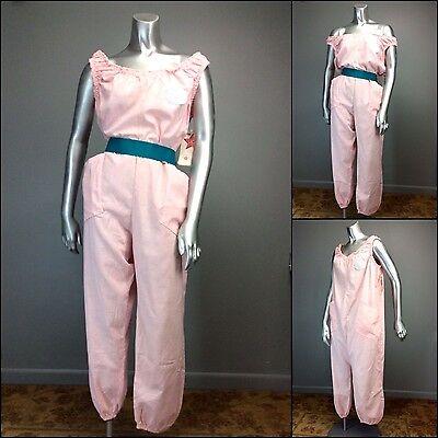 NOS vtg 80s Iconic BLAKE AMERICAN Pink Jumpsuit Romper CHARMCRINKLE newwave Punk