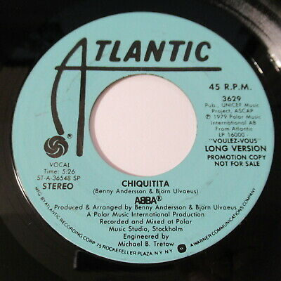 "Abba 7"" 45 Record PROMO Chiquitita Atlantic 3629 1979 Short & Long Version"