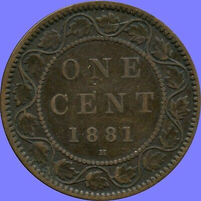 1881'H' CANADA LARGE CENT COIN NO TAX !
