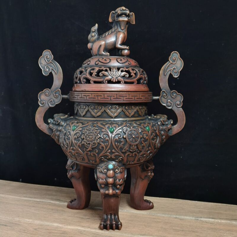 """15"""" Chinese Rare Old red copper handmade lion Ruyi incense burner"""