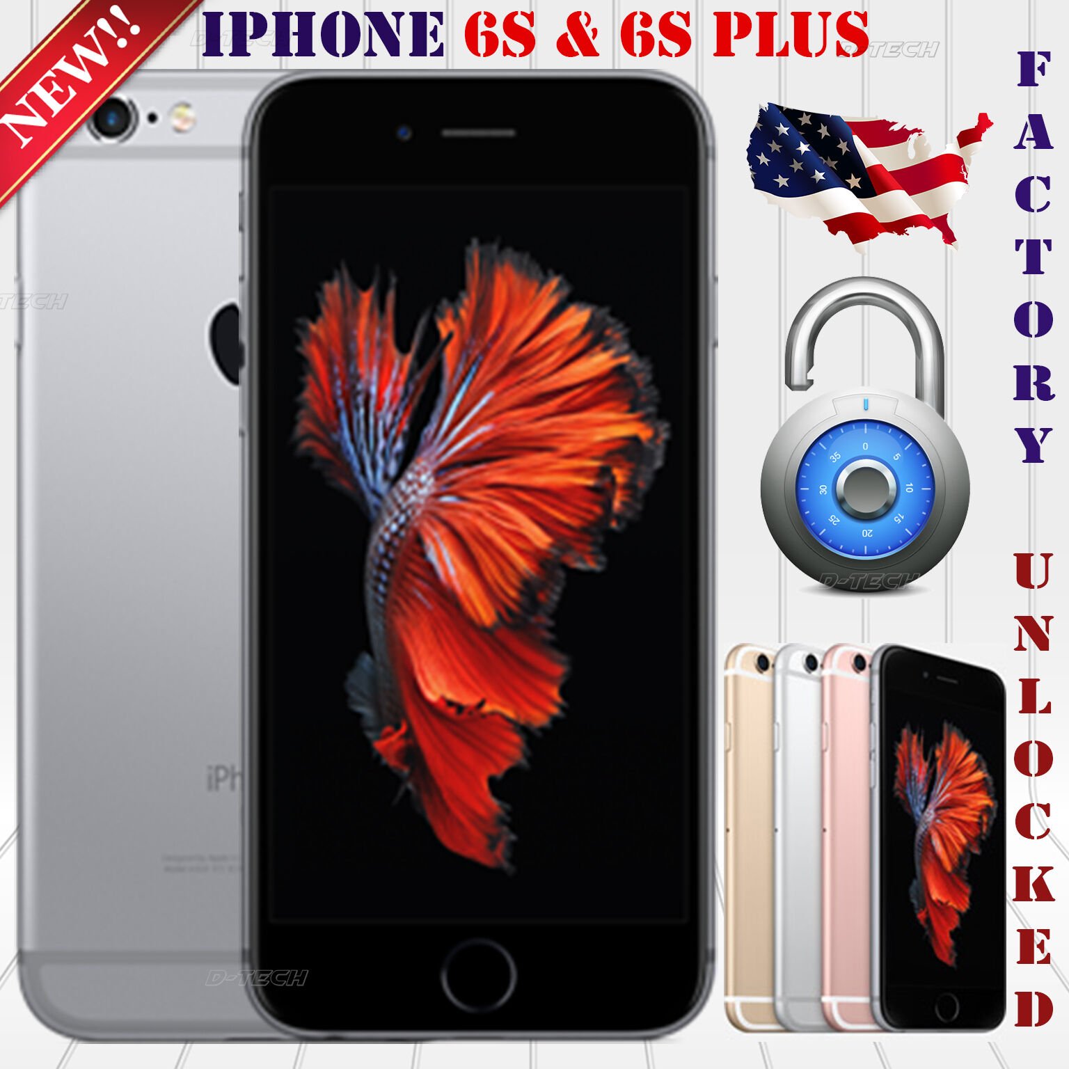 Apple Iphone 6S Plus (32 / 64 / 128 GB) FACTORY UNLOCKED PHONE 4G LTE HD NEW