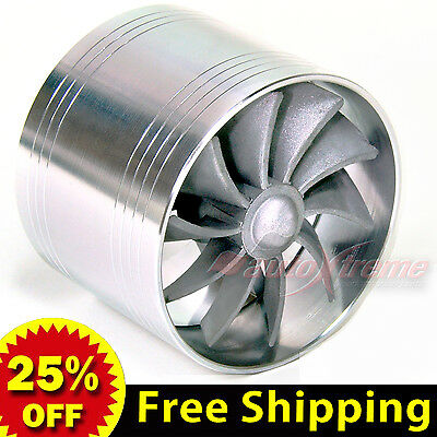 """2.5-2.9"""" 64-74mm TURBO Supercharger AIR INTAKE TURBINE Gas Fuel Saver Fan SILVER"""