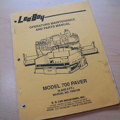 Leeboy 700 Paver Parts Owner Operator Operation Maintenance Manual Book Catalog