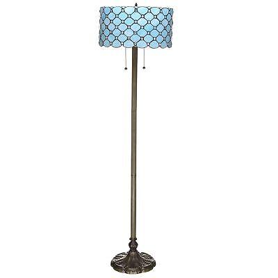 Tiffany Style Pale Blue Jeweled Floor Lamp 16