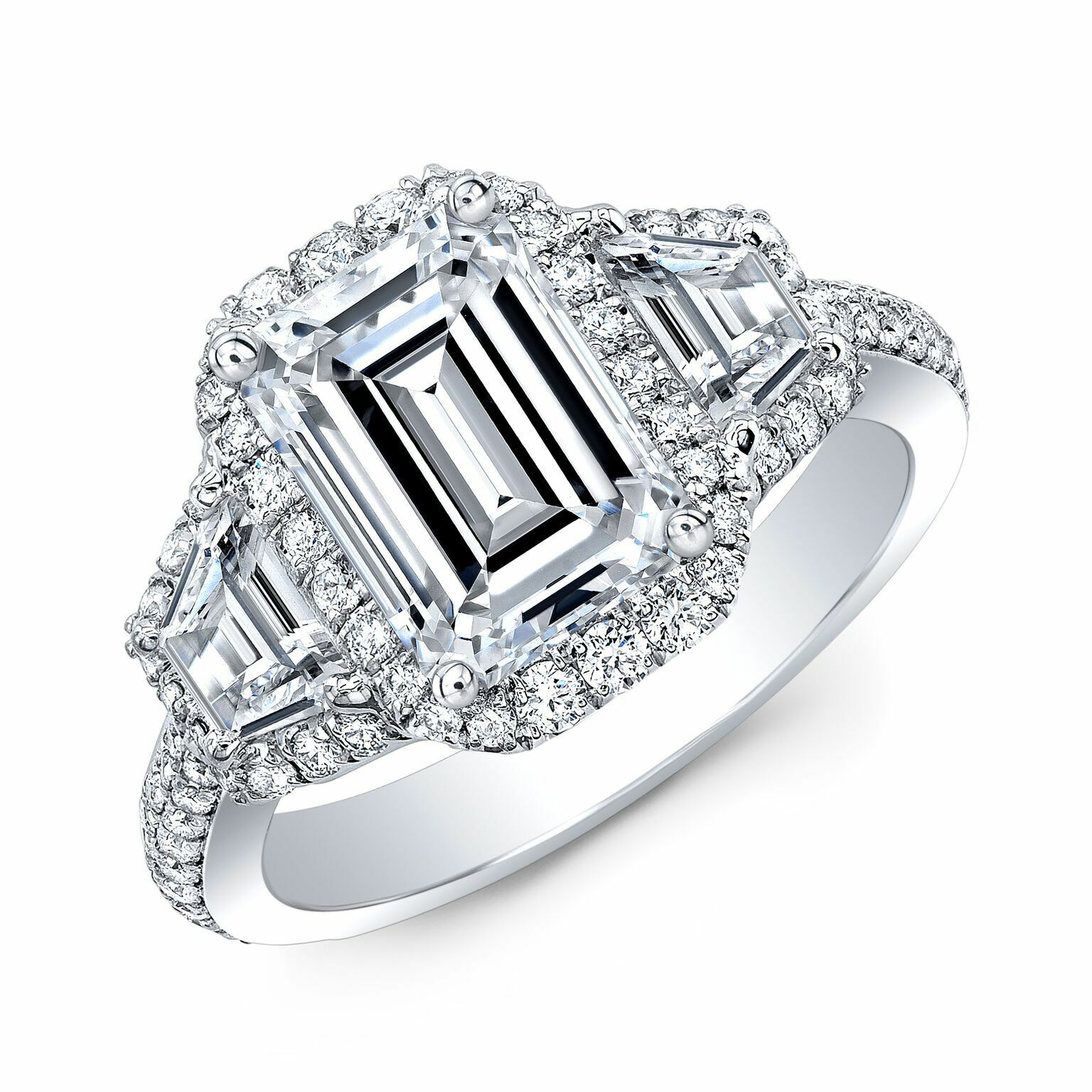 2.20ctwNatural Emerald Cut 3-Stone Halo 2 Row Shank Diamond Engagement Ring GIA 1