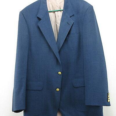 Mens Blazer Sport Coat Jacket Cotton Blend Blue Gold Button Hardwick Clothes 40L