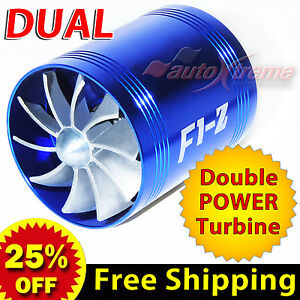 For-HONDA-Air-Intake-Dual-Fan-TURBO-Supercharger-Turbonator-Gas-Fuel-Saver-BLUE