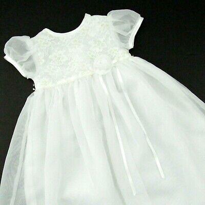 Baby Girl White Easter Dress 6-9 Months Short Sleeve Baptism Christening Dressy