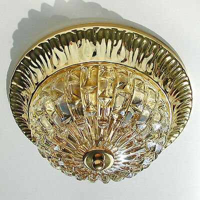 Vintage Ceiling Fixture Light Flush Mount Thick Textured Amber Lamp Glass Brass