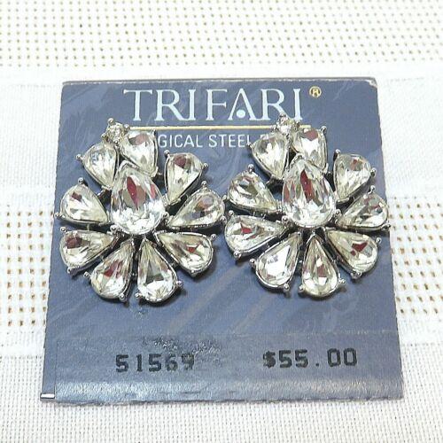 TRIFARI Teardrop Rhinestone Pierced Post Statement Earrings Vintage NWT  E01