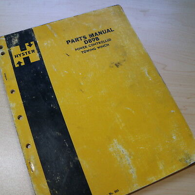 Hyster D98b Tractor Towing Winch Parts Manual Book Catalog D8 D9 Dozer Crawler
