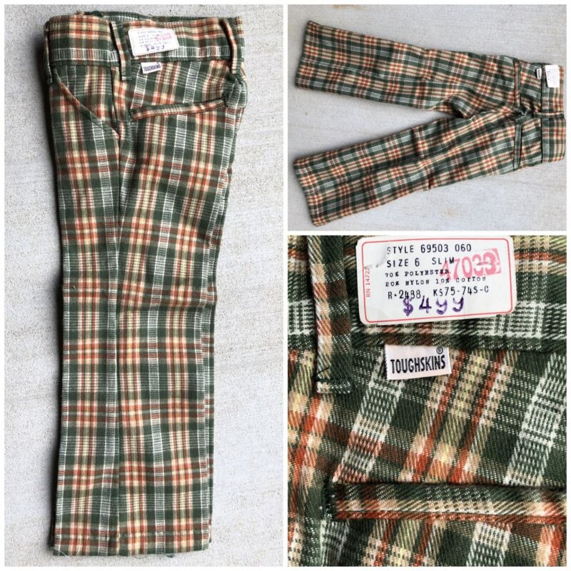Vtg 70s Sears Tough Skins Disco Plaid Bell Jeans Pants 6 Slim NOS lot Talon 42