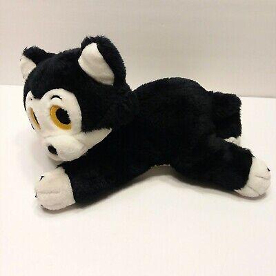 Disney Pinocchio Lying Plush Cat Figaro Kitten Black w/Yellow Eyes Bean Bag