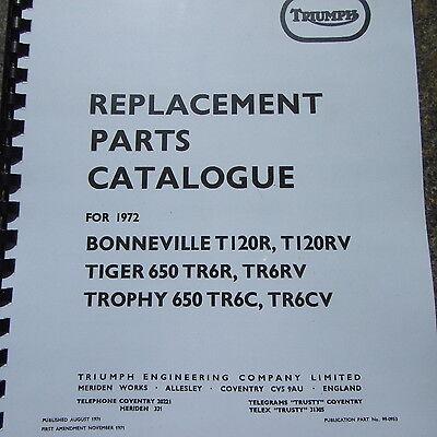 Triumph Bonneville T120 R RV Tiger 650 TR6R RV Trophy TR6CV Parts Catalogue 1972