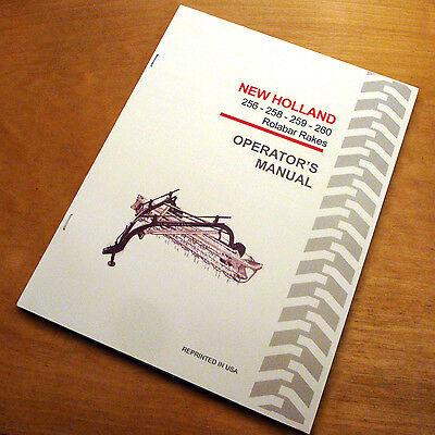 New Holland 256 258 259 260 Rolabar Hay Rake Operators Manual Nh