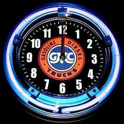 GMC TRUCKS LOGO - 11 Blue Neon Wall Clock