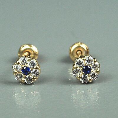 14K solid yellow gold flower natural white Topaz & Sapphire screw back earrings