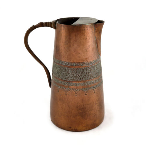 Antique Indian Kashmir Tinned Copper Hand Engraved Chased Pitcher Ewer