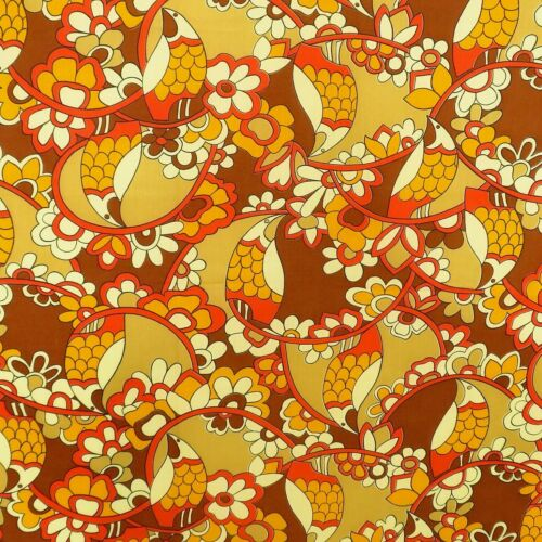 1.6 Yards 1970s Mod Fabric Floral Birds Vintage Material