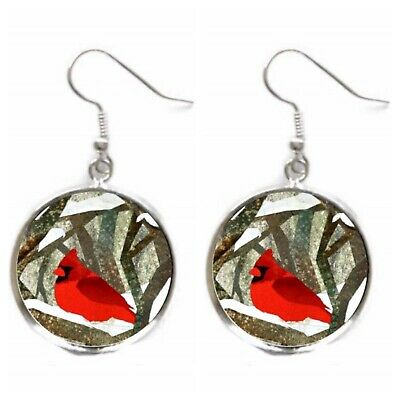 Cardinal Bird Earrings Winter Red Bird Lover Gift Silver Charm Dangle Earrings