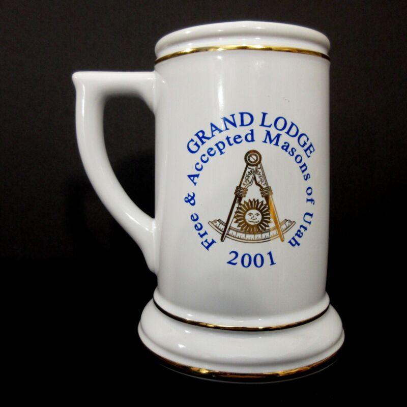 Vintage Masonic Beer Stein Mug Utah Grand Lodge 2001 Free Masons Ceramic Cup