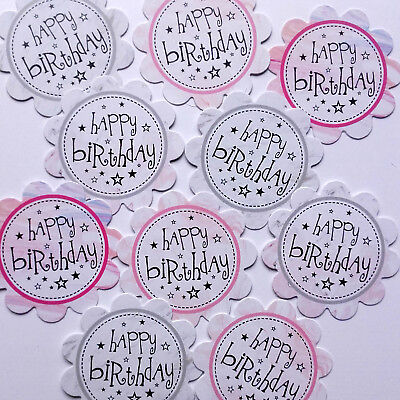 10 HAPPY BIRTHDAY SENTIMENTS - PRINTED HAND MADE CARD TOPPERS - MARBLE (BMAR)