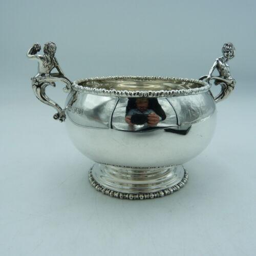 Edwardian Solid Silver Sugar Bowl by Mappin & Webb with unusual high end handles