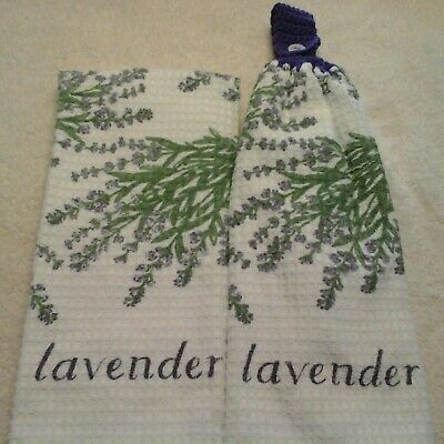 Double kitchen towel set lavender flowers green leaves crocheted purple top  - Leaves Kitchen Towel Set