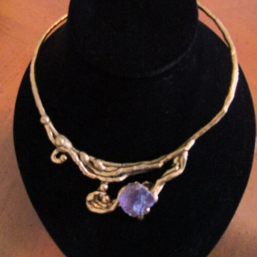 BRASS NECKLACE CHOKER Amethyst Nugget 70