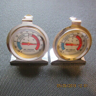 2X Stainless Nerve Refrigerator / Freezer Dial Type Stainless Thermometers