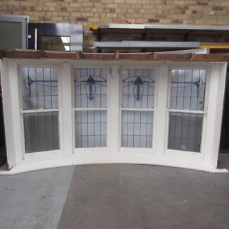 Leadlight Bay Window, 4 Panes, Art Nouveau Style