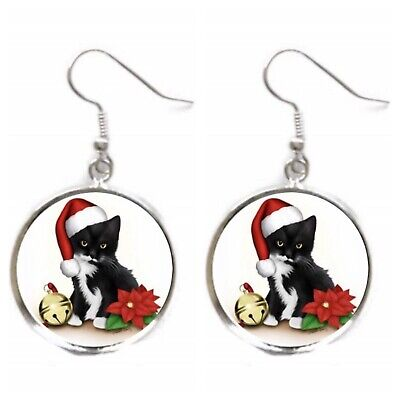 Christmas Dangle Earrings Tuxedo Cat Earrings Silver Kitten Santa Charm -