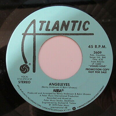 "Abba 7"" 45 Record PROMO Angeleyes Atlantic 3609 1979 Pop Disco Dance Music"