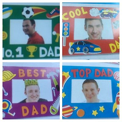 FATHERS GIFT MAGNET PHOTO FRAME KITS NO GLUE REQUIRED 4 ASSORTED DESIGNS
