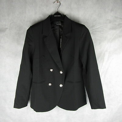 New! Stunning!  Boohoo Bella Button Black Blazer Jacket Size L Stylish Fashion
