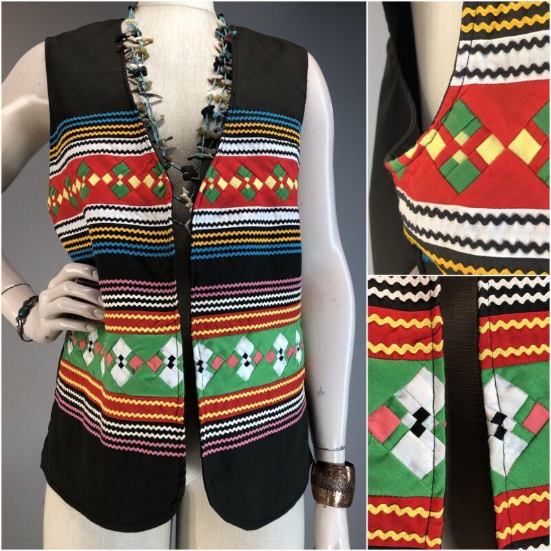 Vtg Seminole Quilted Pieced Vest Vintage RicRac Folk Art Tunic Colorful American
