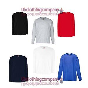 BAMBINI-UNISEX-FRUIT-OF-THE-LOOM-di-cotone-a-manica-lunga-t-shirt-MAGLIA-14-15