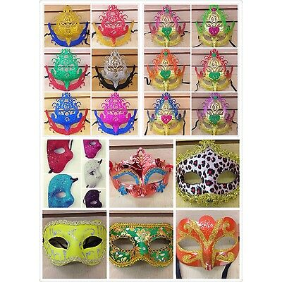12 Mardi Gras Costume Party Masks Masquerade Cosplay Venetian Ball Lot Halloween
