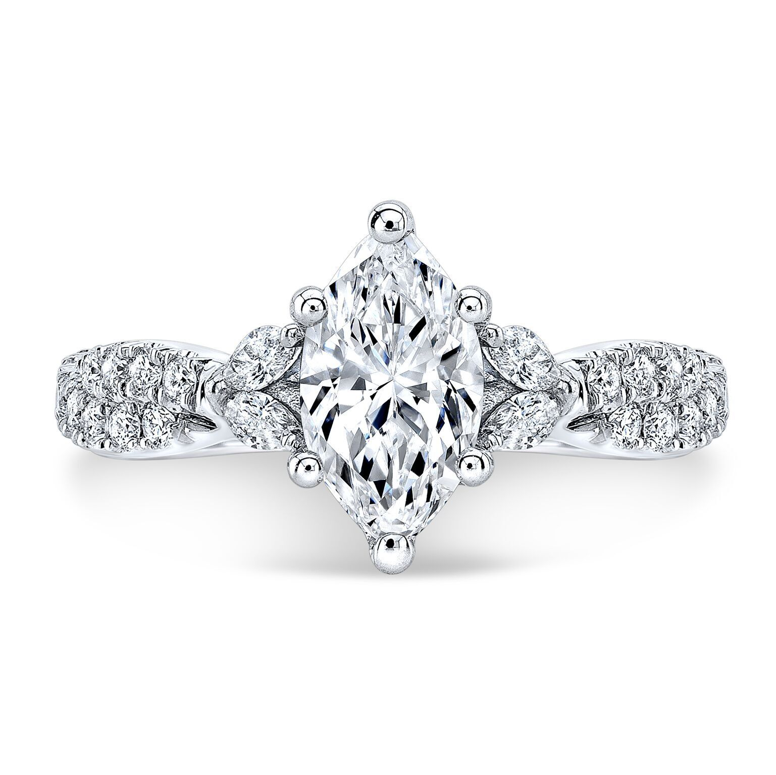2.00ctw Natural Marquise Cut Side Diamonds Twisted Pave Engagement Ring-GIA 1