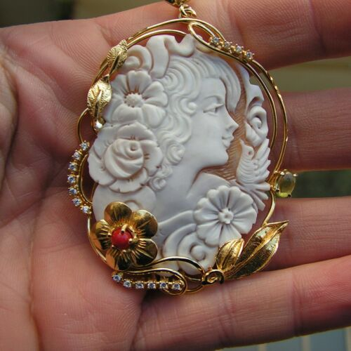 Shell Cameo Vintage Style ITALY genuine Cornelian 55mm Natural  ITALY
