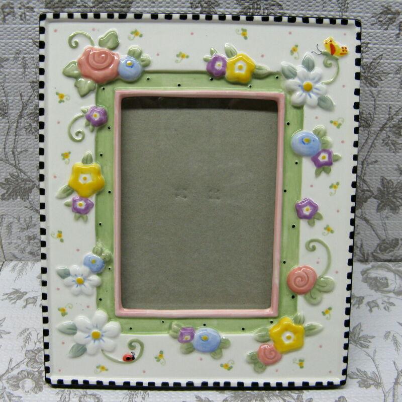 Mary Engelbreit Ceramic Frame Raised Flowers 6.75 X 8 Michel & Co Vintage 1999
