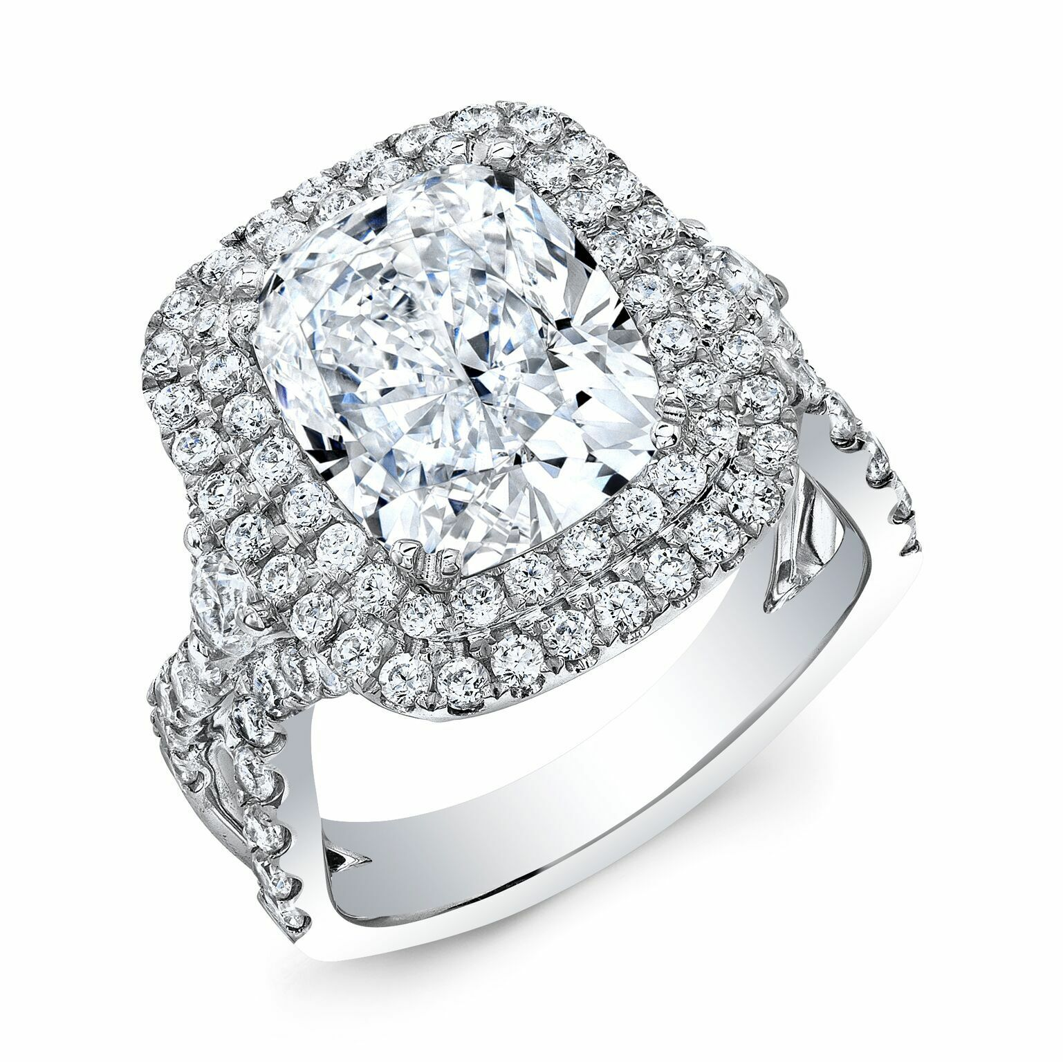 2.40ctNatural Cushion Cut Double Halo Split Shank with side diamonds profile GIA