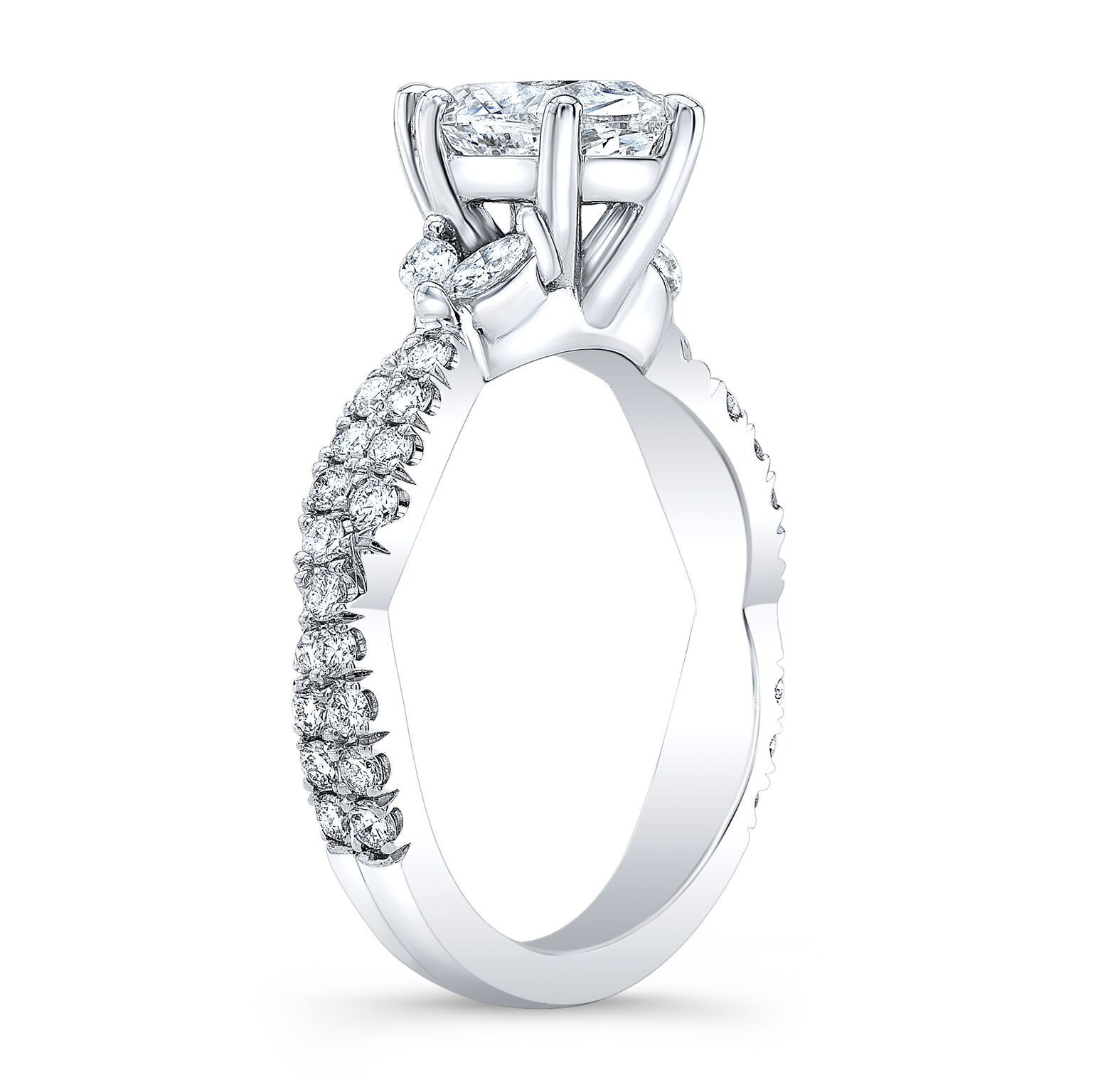 2.00ctw Natural Marquise Cut Side Diamonds Twisted Pave Engagement Ring-GIA 2
