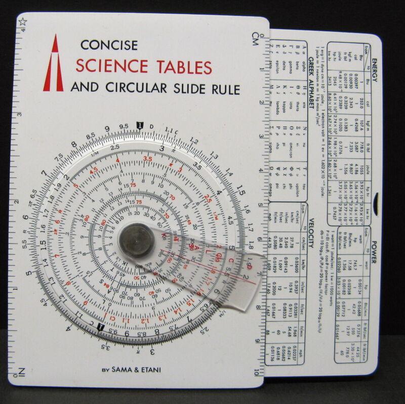 Sama & Etani Concise Science Tables And Circular Slide Rule 600-ST Vintage 1968