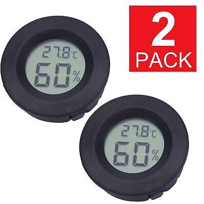 2 Pack Digital Cigar Humidor Hygrometer Thermometer Temperature Round