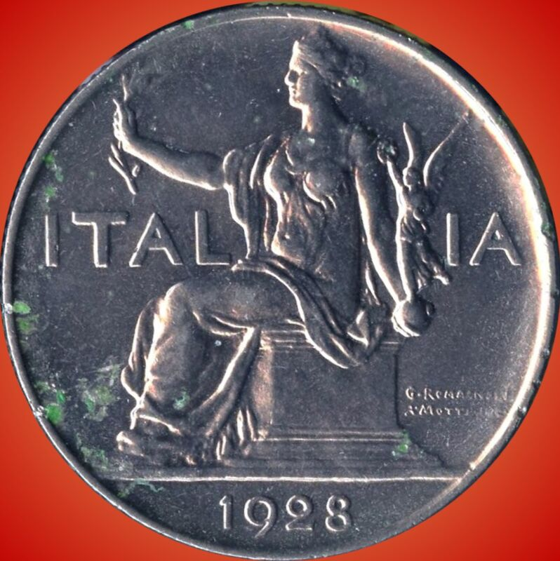 1928 Italy 1 Lira Coin