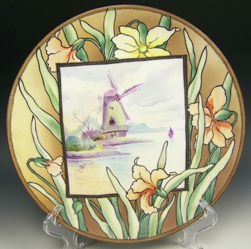 "NIPPON HAND PAINTED IRIS 10"" WALL PLAQUE"